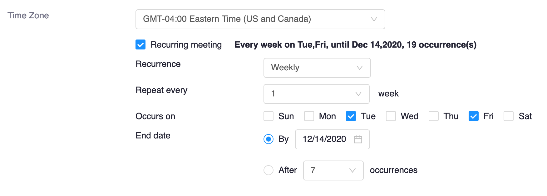 recurring meeting selection options, with weekly recurrence selected, two days of the week selected, and the end date set to the last day of classes