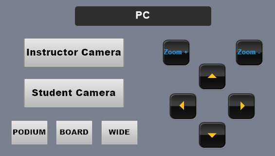 Touch panel diagram. Across top: says PC.Selection buttons on left side, from top to bottom: 1. Instructor Camera 2. Student Camera 3. Row of three buttons, left to right: Podium, Board, Wide. On right side: Two zoom controls towards top. Arrow controls (up, left, down, right) for camera