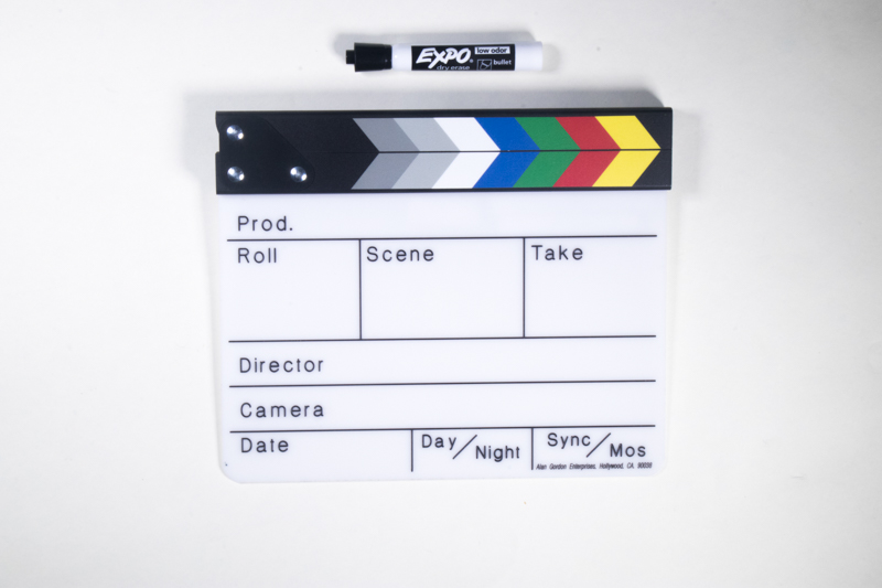 A clapboard with an Expo dry erase marker