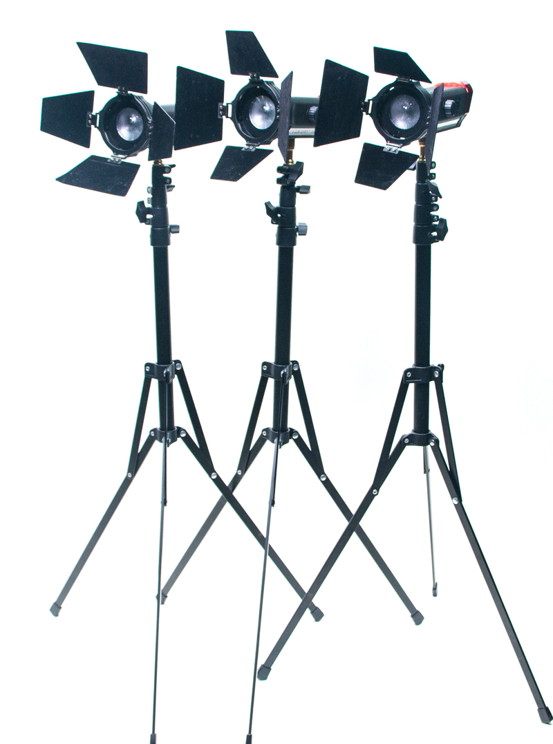 Three Aputure standing lights