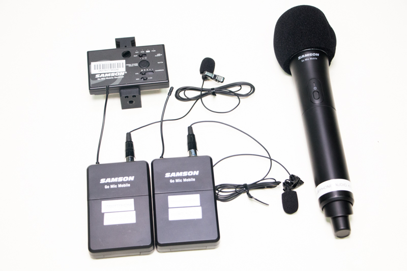 A four-piece Samson Go Mic Mobile kit